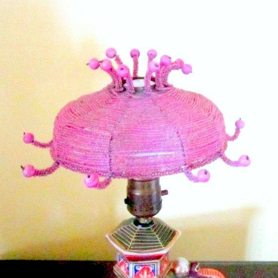 Antique lamp shade pink beaded small fits on light bulb for Purple beaded lamp shade