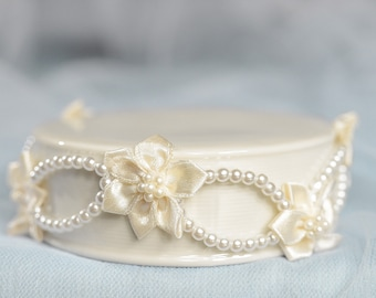 Pearl and Ribbon Flower DIY Cake Topper Base - 15007