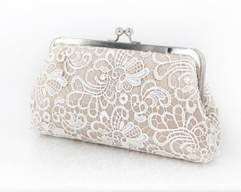 Bridal Champagne Flower Lace Clutch 8-inch GALA