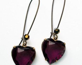 Heart Earrings - Purple Crystal Hearts - Amethyst Earrings - HEARTSONG Amethyst