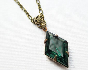 Art Deco Necklace - Emerald Green Rhinestone Necklace - Downton Abbey Jewelry - Great Gatsby - HARLEQUIN Emerald