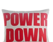 """POWER DOWN -  recycled felt applique pillow 14"""" x 18"""" - more colors available"""