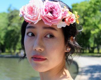 White and Pink Flower Crown Halow Hair Accessory - White Pink Weddings Flower Girls Wreath, Bridal Flower wreath, Bridesmaid Hair Piece