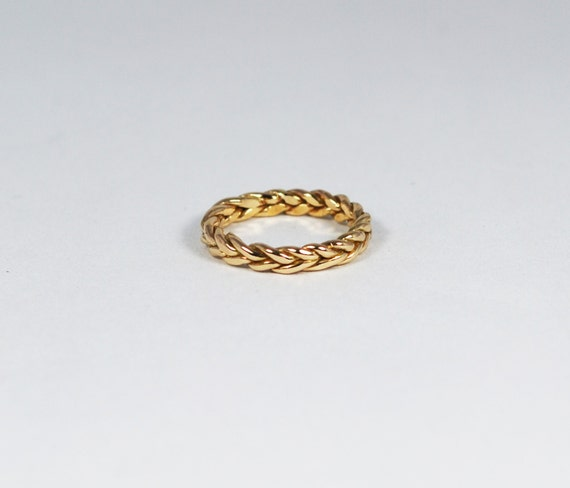 14 Karat Solid Gold Braid Pinky / Knuckle/ Baby Ring