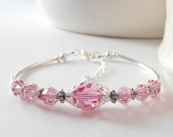 Bridesmaid Bracelet Set of 3, Pink Crystal Bangle, Beaded Bracelet, Wedding Jewelry, Gift for Bridesmaid, Swarovski Crystallized Elements