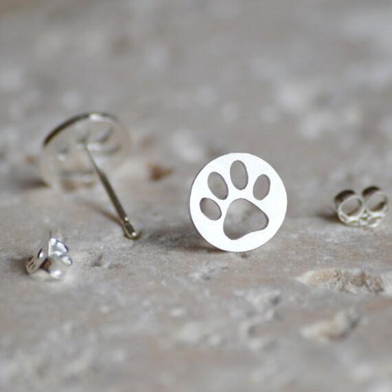 hollow pawprint earring studs, pet's pawprint earring studs, handmade in England