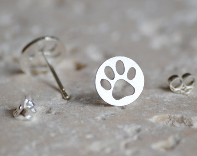 Hollow Pawprint Earring Studs, Pet's Pawprint Earring Studs, Handmade In England