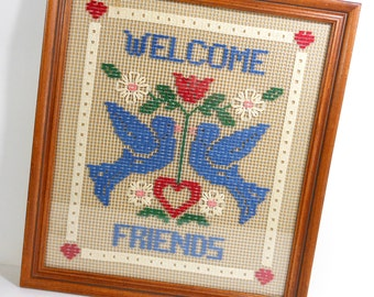 Vintage Welcome Sign Stitchery Bluebirds Red Blue Stitchery Open Weave Framed Glass PeachyChicBoutique on Etsy