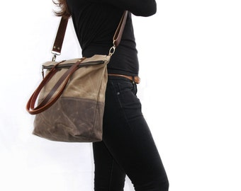 Waxed Canvas Tote in Oak Brown and Field Tan with Cross Body Leather Strap and Leather Handles