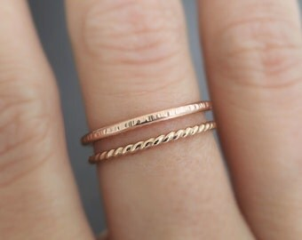 Rose Gold Ring, Gold Twist Ring - 2 stackable rings - thumb ring - midi ring - knuckle ring