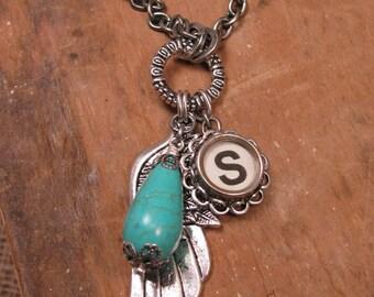 Typewriter Key Jewelry - Angel Wing/Memories Necklace - Initial S Typewriter Key - December Birthstone - Turquoise Color Magnesite Teardrop