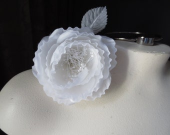SALE Silk Flower Cupped Millinery Rose in Bridal White for Bridal, Sashes, Headbands, Costumes, Hats