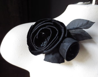 Silk Millinery Rose with Buds in BLACK for Bridal, Sashes, Hats MF 136