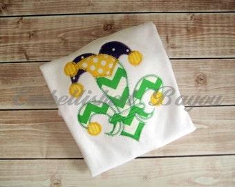 Mardi Gras Fleur de Lis Jester Hat Applique T-shirt for Girls