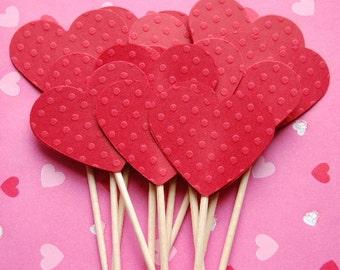 Red polka dot heart valentine cupca ke topper picks set of 12
