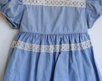 Vintage 1950's Baby Girl Dress - Blue Flower Wreaths (12m)