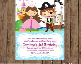 Custom Printed Princess and Pirate Birthday Invitations - 1.00 each with envelope