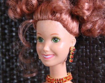 """Gold and Red Rhinestone Choker Necklace Doll Jewelry Set fits 11 1/2"""" - 12 inch  1/6 Scale Female Fashion Dolls"""