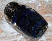 Exquisite Blue Green and Black Striped and Honeycombed Dread Bead - Handblown Glass