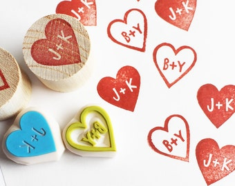 custom monogram rubber stamp | personalized love heart stamp | wedding stationery | diy card making | mounted | hand carved by talktothesun