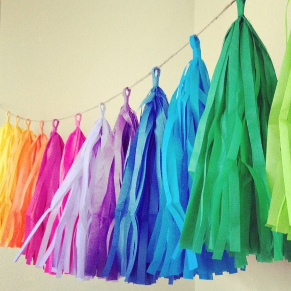 Large Tassels Home Decor: RAINBOW FUN / Tissue Paper Tassel Garland / Rainbow By PomLove