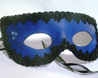 Leather Mask in Blue with Black Trim