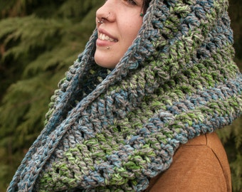 Cowl Infinity Scarf Giant Infinity Scarf, Grey, Blues & Greens Ready to Ship, Christmas in July, CIJ Summer CLEARANCE EVENT