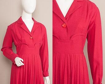 Vintage 1950s GRACE KELLY style knife pleats Dress UK 16