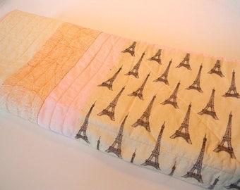Parisian Baby Handmade Quilt- Eiffel Tower Pink Baby Bedding