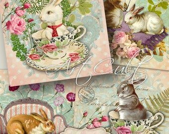 Printable download SWEET RABBITS FAMILY Digital Collage Sheet 3.8x3.8 inch size easter Images for coasters paper scrapbooking by Art Cult