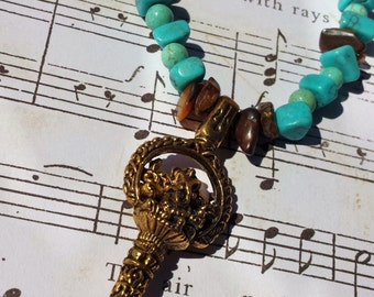 SALE 30% OFF- Gold and Turquoise Key Necklace
