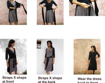Womens Wrap dress-Long sleeves womens dress-Convertible dress-Winter/fall dress-Knee length dress-Casual dress