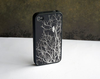 Black and Silver Bird Custom iPhone Silicone Case