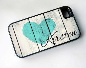 Rustic Country Heart + Monogram Protective Phone Case + teal, iPhone 6 Case, 6+ Case, iPhone 7 Case, iPhone 7 Plus Case