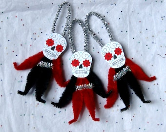 Chenille Onaments, 3 Day of the Dead , DOD Chenille Ornaments, light weight (110)