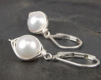 Pearl earrings, sterling silver, wire wrapped jewelry handmade, June birthstone, bridal earrings - Cygnet