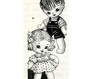 Vintage Stuffed Doll PATTERN 7468 Boy & Girl Sock Dolls with clothes 1960s