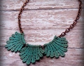 The Venetian - Lace and Copper Necklace in Vintage Mint