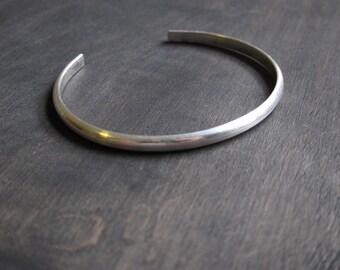Women's Classic Sterling Silver Cuff Bracelet, Simple Sturdy Sterling Silver Bracelet