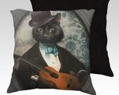Cat Pillow Pillowcase Black Cat Cat Pillow Cover Decorative Throw Pillows Veterinarians 18x18 or 22x22 Pillow Case - Felix Fitzpatrick