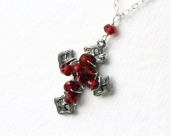Cross Necklace, Garnet Necklace, Silver Plated Cross - Chosen One by CircesHouse on Etsy