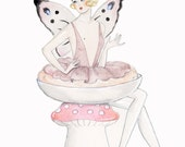 Fairy Powder Puff Dish Glittery Greetings Card