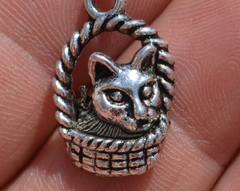 5  Silver Cat in Basket Charms SC1525