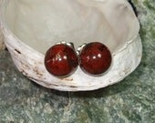Earrings Earings Ear Studs 8mm Red Poppy Jasper Titanium Posts and Clutches Hypo Allergenic Made in Newfoundland Relaxation