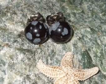 Snowflake Obsidian 8mm Stud Earrings Earings Titanium Post and Clutch Hypo Allergenic Black Grey Lava