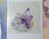 Amethyst Crystal - polaroid print small artwork  3.5 x 4.25