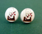 Marshmallow S'more Candy Cane Earrings.  Handmade Resin Earrings.  Snowman Christmas Earrings.