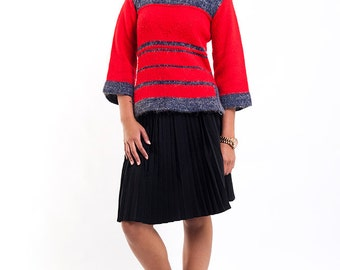 The Vintage Red Color Block Mountain Sweater