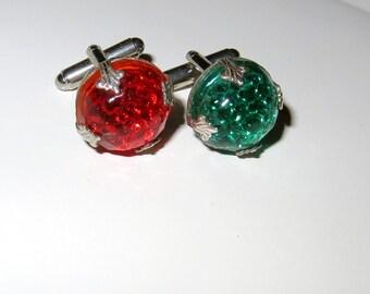 Reflector Cufflinks - Nautical Cuff Links - Red Green Silver Cufflinks - Stop N Go Reflector Cuff Links - Industrial Art - Holiday Cufflinks