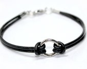 "Leather Bracelet - Unisex, Modern, minimalism ""Circle of Life"" by Lissie Design - Free shipping!"